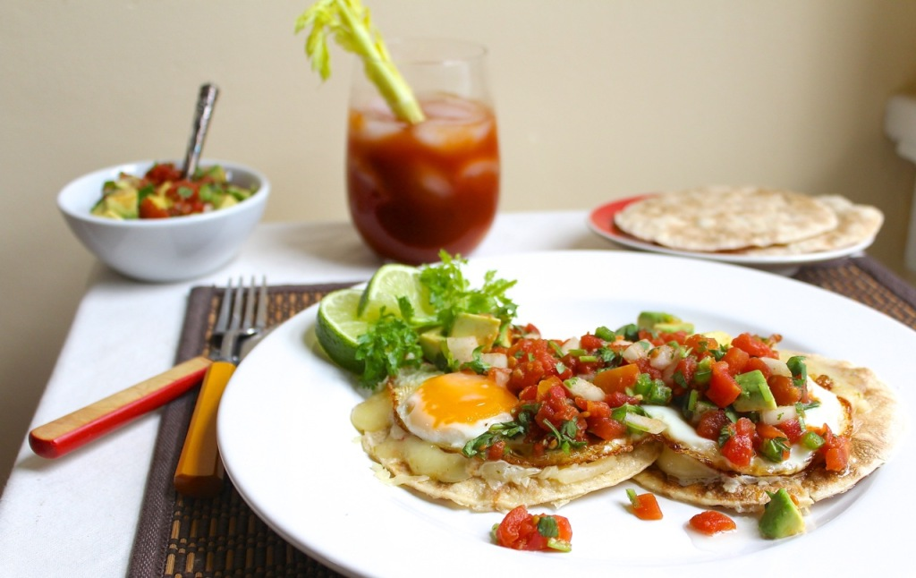 breakfast tostadas with tomato avocado salsa