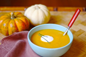 butternut squash soup with apple cider and chipotle spice