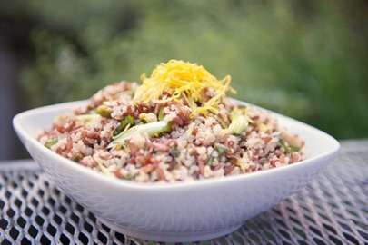 red rice and quinoa salad with pistachio and lemon photo by double image studio