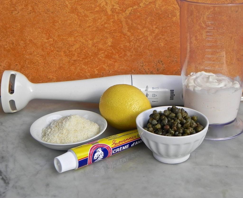 ingredients for lemon caper caesar dressing