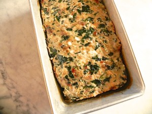 turkey meatloaf with sun dried tomato, spinach and feta