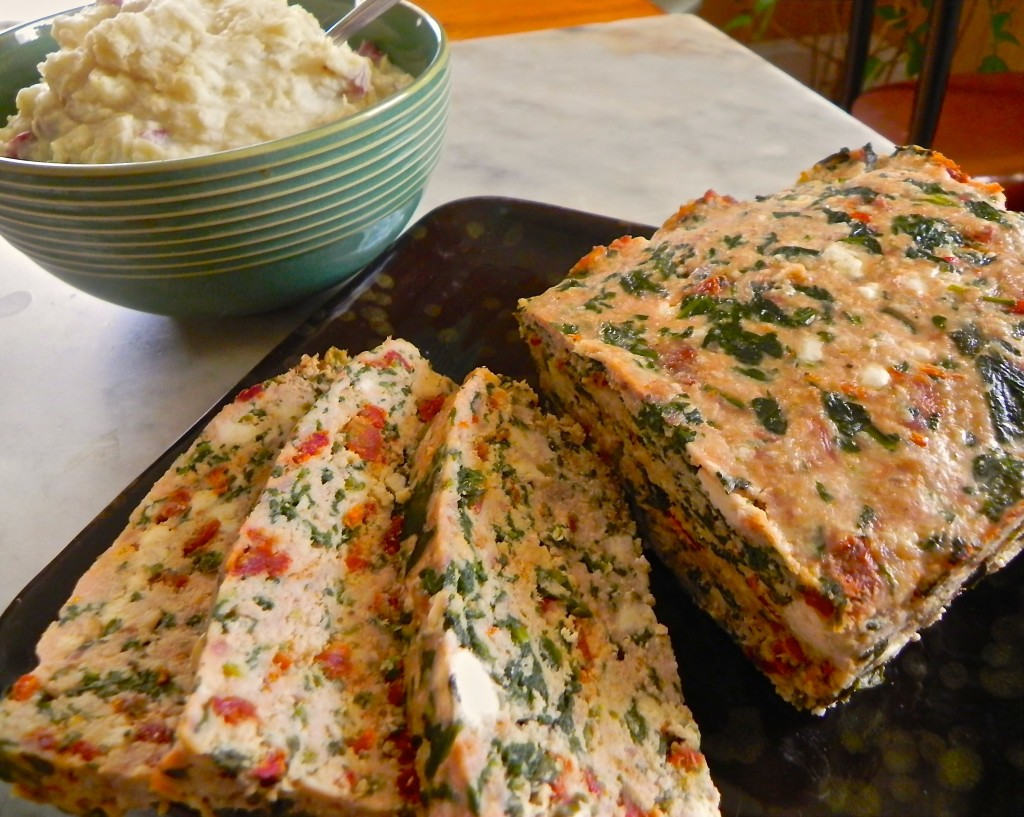 turkey meatloaf with sundried tomato, spinach and feta