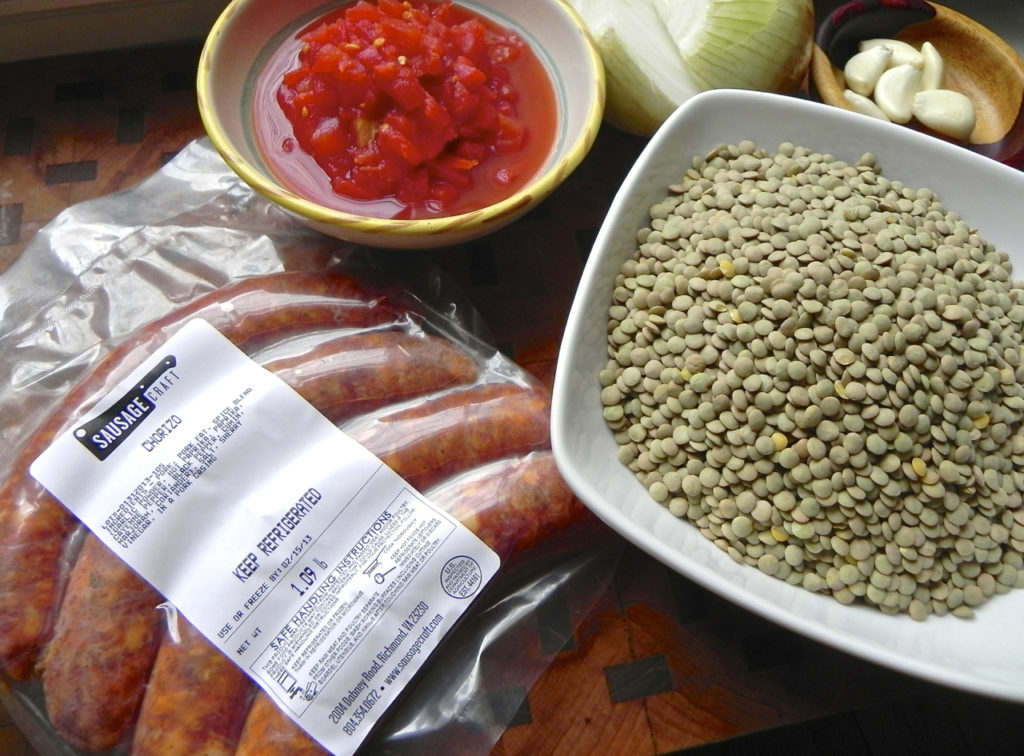 chorizo sausage with lentils and tomato