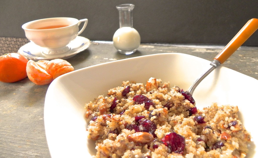 breakfast quinoa with toasted almonds, cranberries and chia seeds