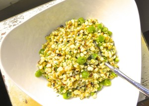 grilled corn and sugar snap pea salad