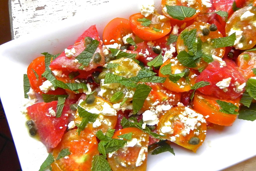 tomato watermelon salad with feta and mint