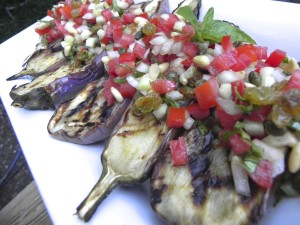 grilled eggplant with caponata relish
