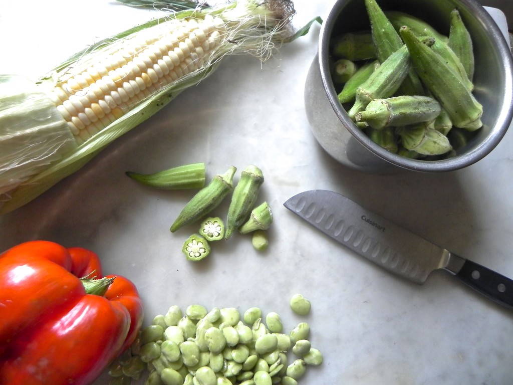 local vegetables for late summer succotash