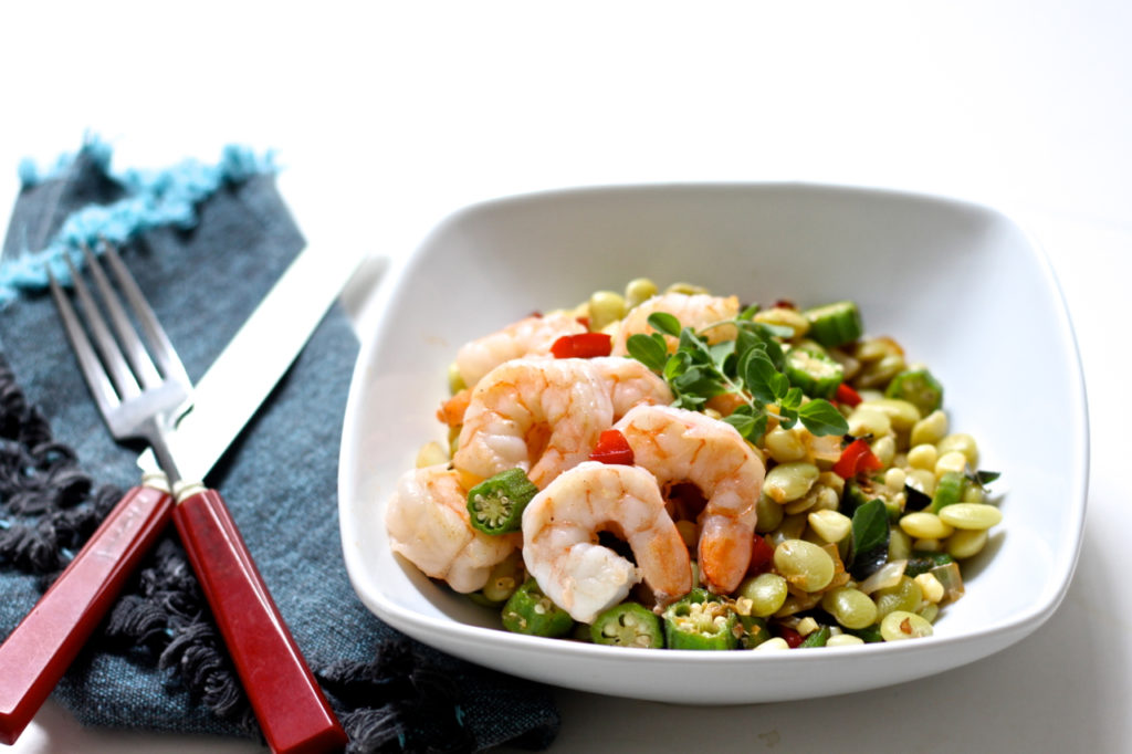 shrimp with late summer succotash