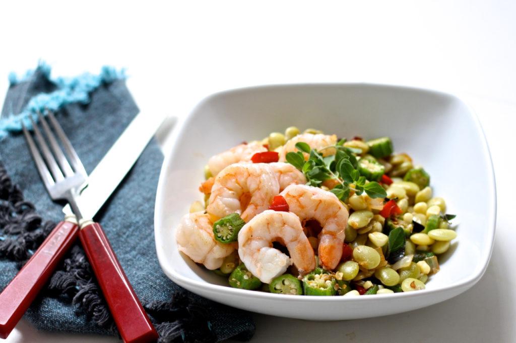 shrimp with late summer succotash