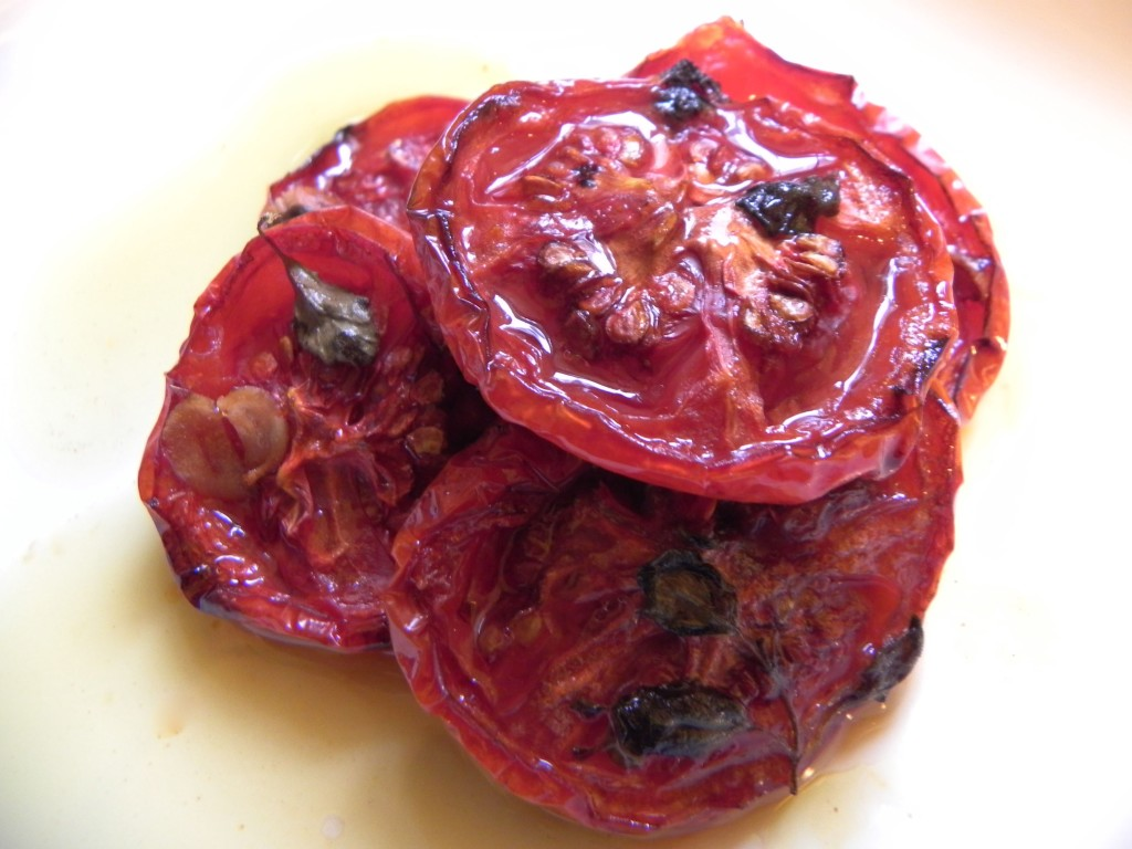 slow roasted tomatoes with garlic and herbs