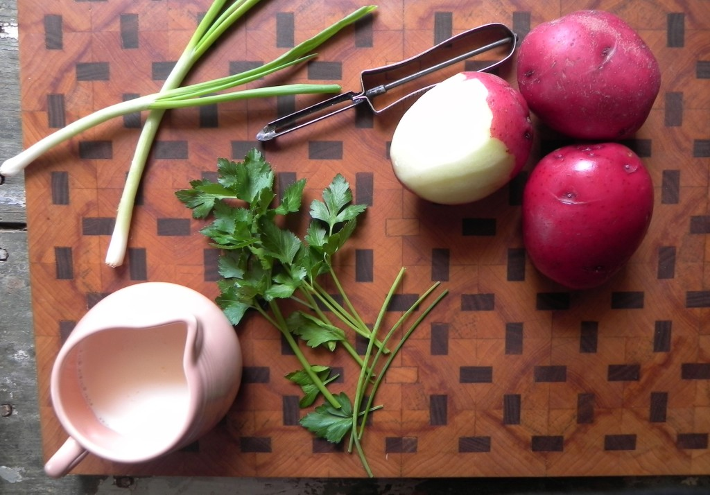ingredients for herbed creamy potatoes