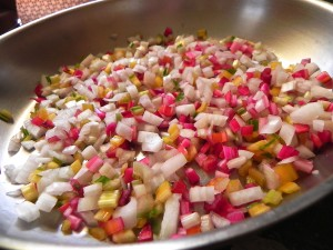 diced swiss chard stems and sweet onion