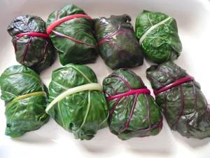 stuffed swiss chard leaves