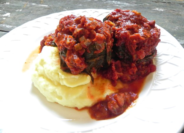 stuffed swiss chard with chocolate balsamic tomato sauce