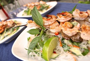 vietnamese grilled shrimp with spring vegetables