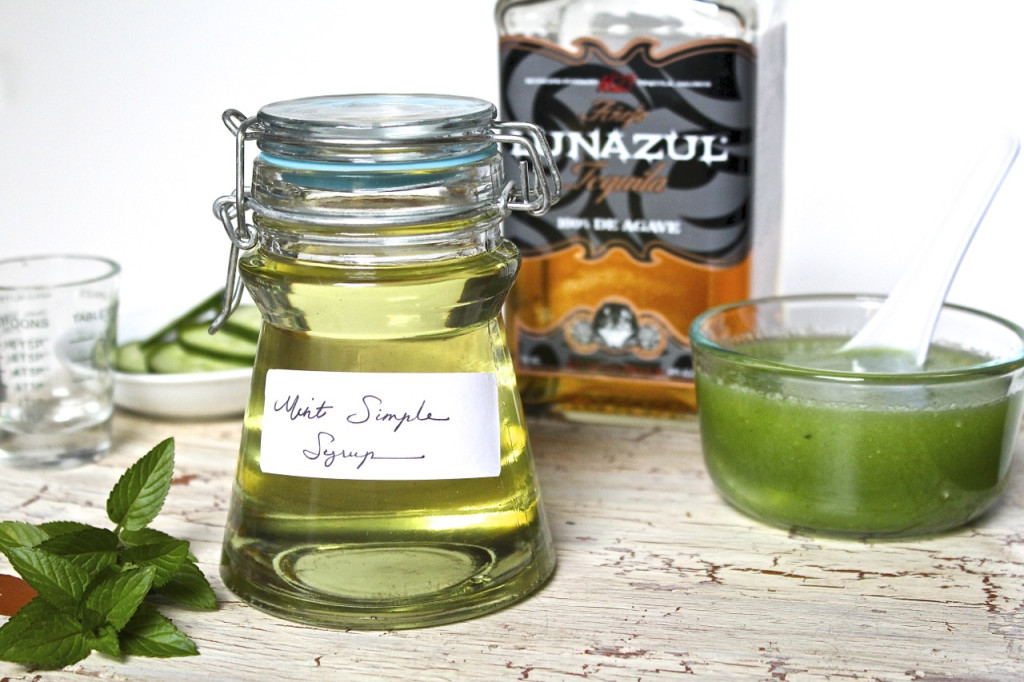 ingredients for cucumber mint cocktail
