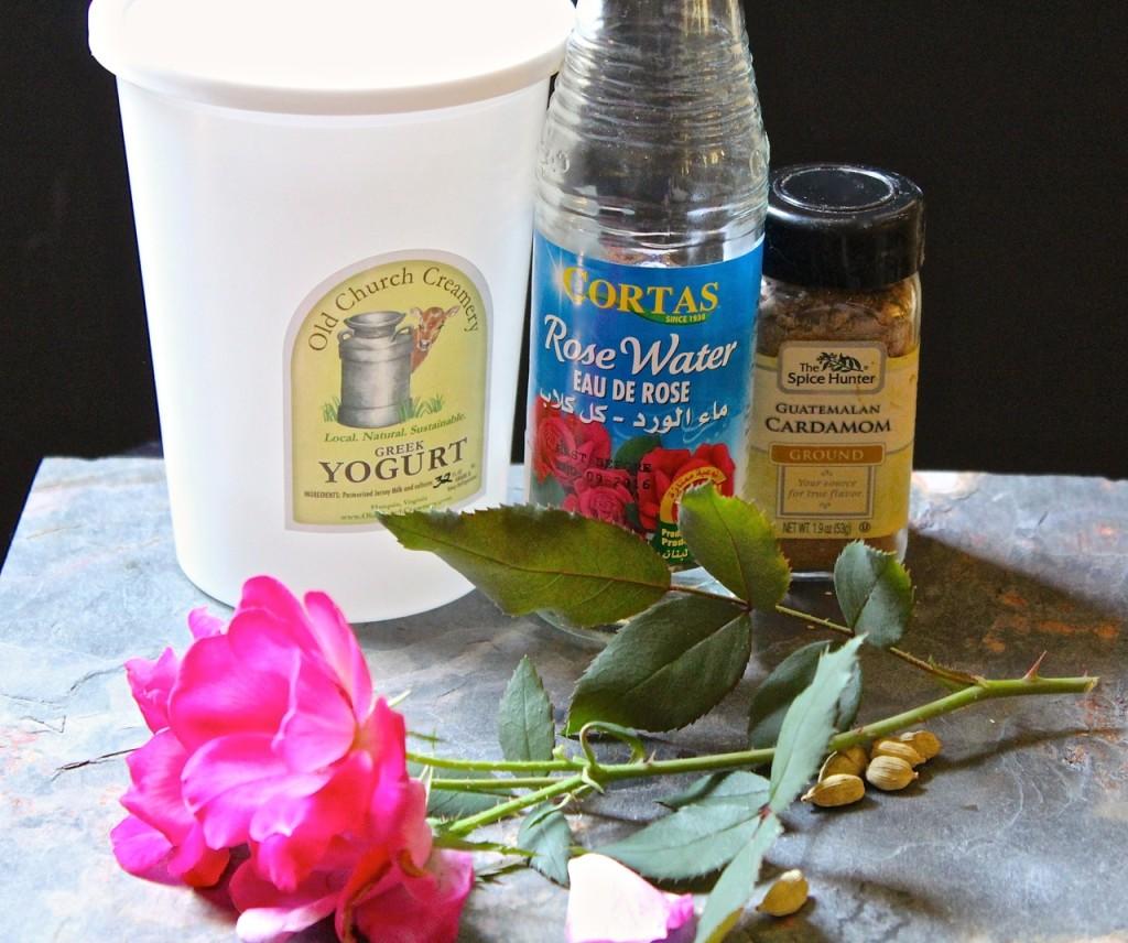 cardamom rosewater frozen yogurt ingredients