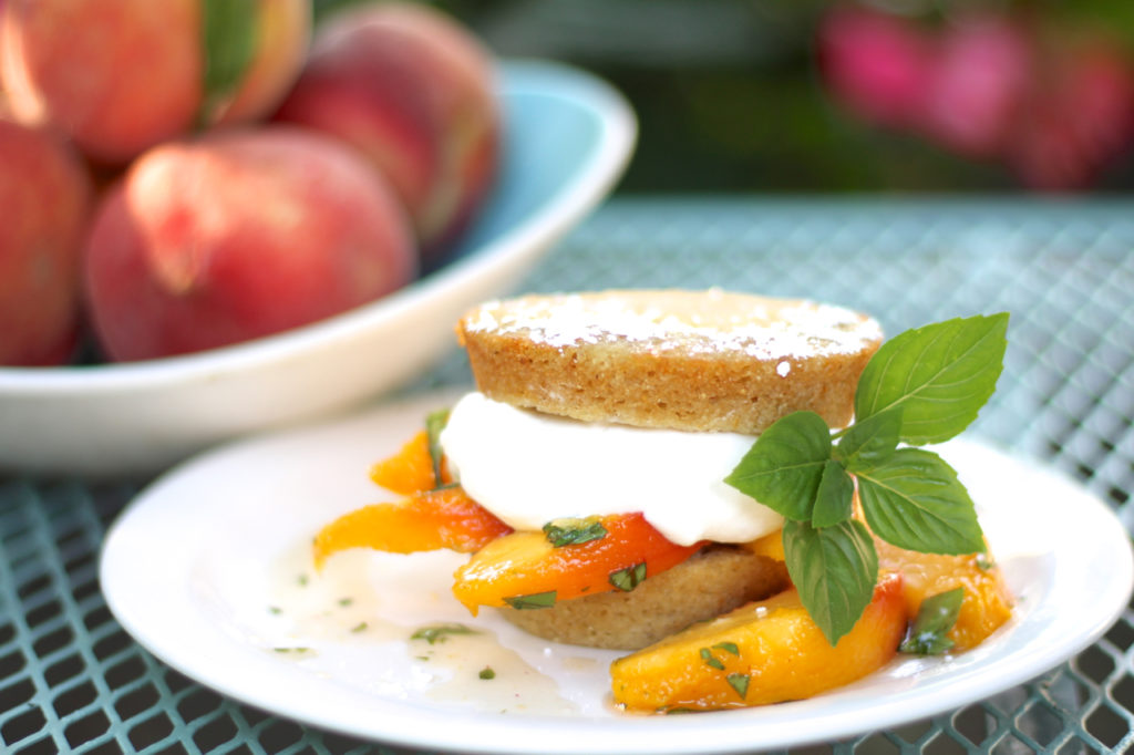 basil peach cornea shortcakes