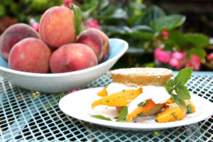 basil peach cornmeal shortcakes