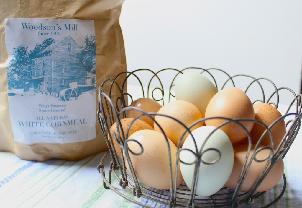 Woodson's Mill white cornmeal and pastured eggs from Pine Fork Farm in Quinton, Virginia