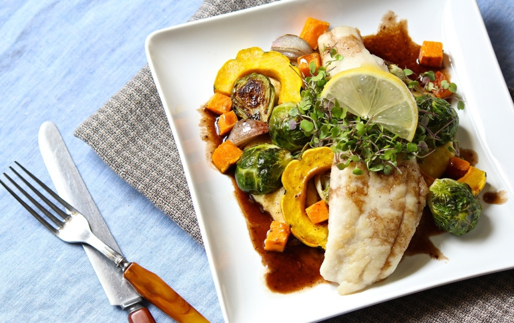 flounder with balsamic fall vegetables