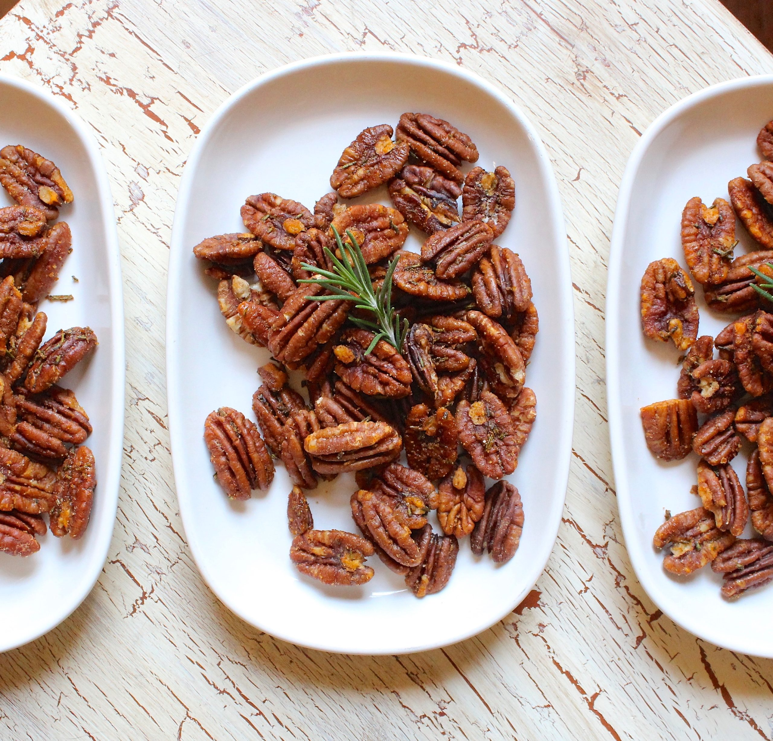 closeup of smoky rosemary roasted pecans