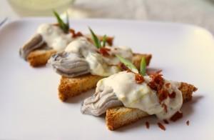 oysters in leek cream