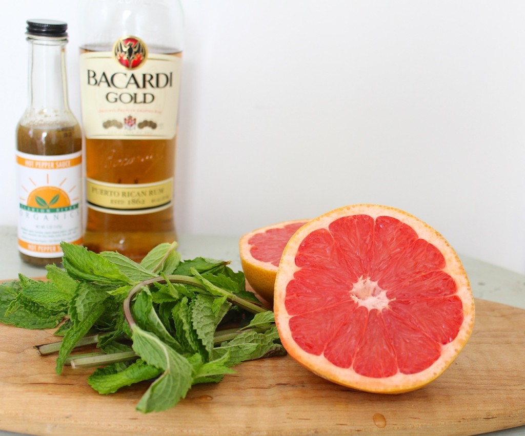 ruby red grapefruit and the makings of a great cocktail