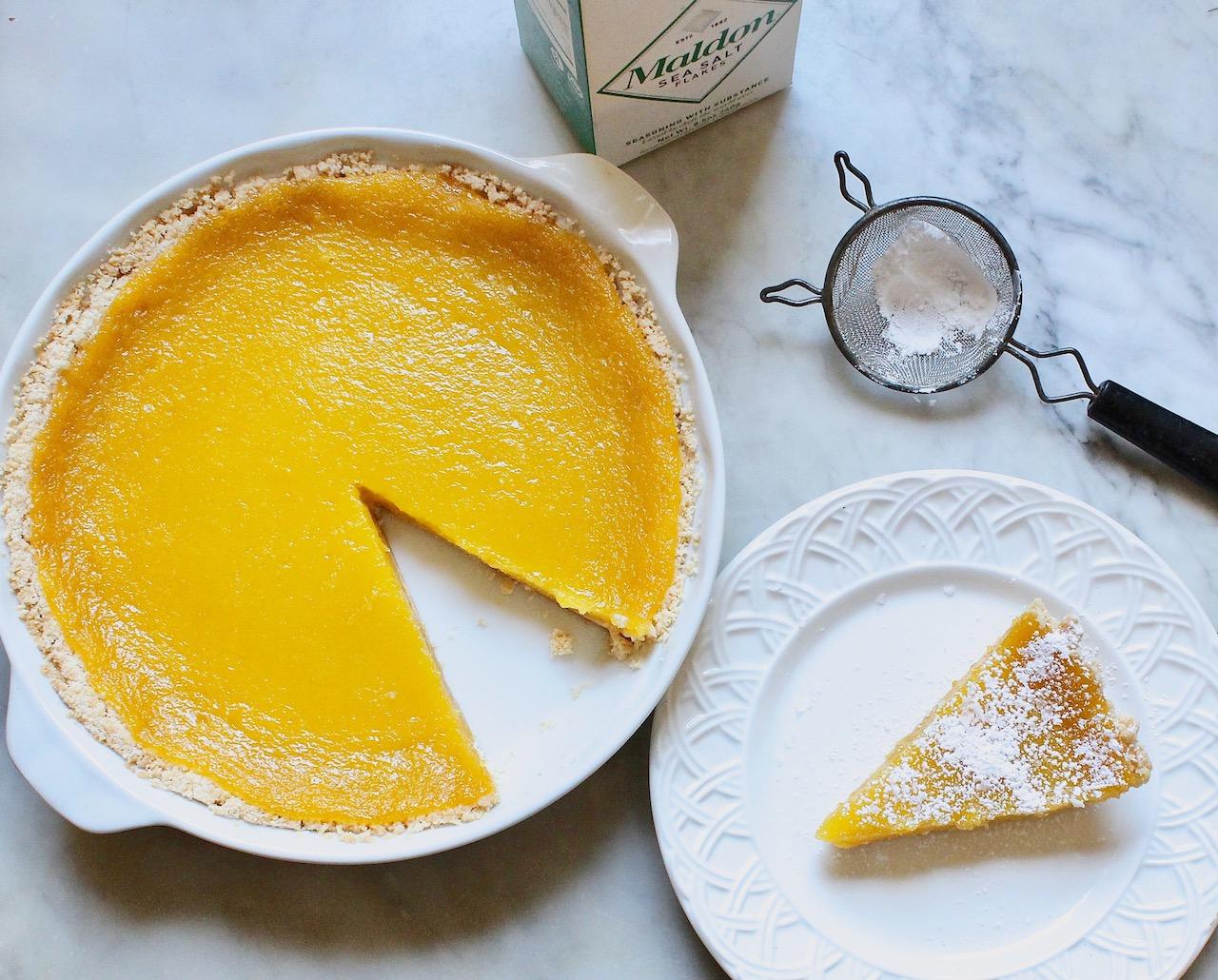 lemon tart with olive oil and flaky sea salt