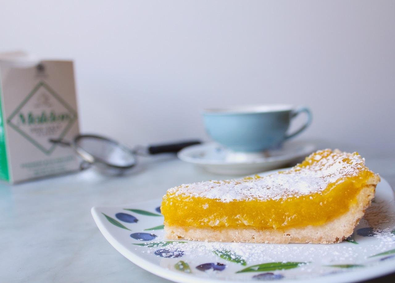 slice of lemon olive oil tart