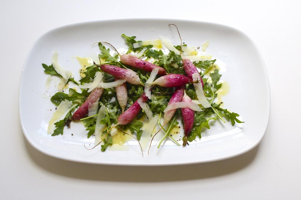 roasted radish and arugula salad