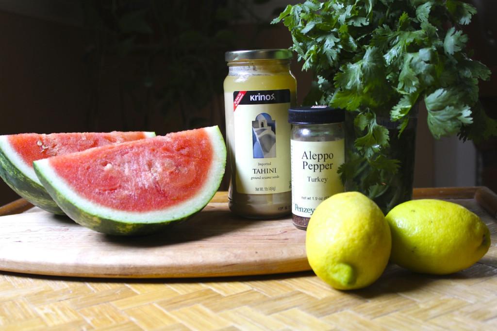watermelon with spicy tahini sauce