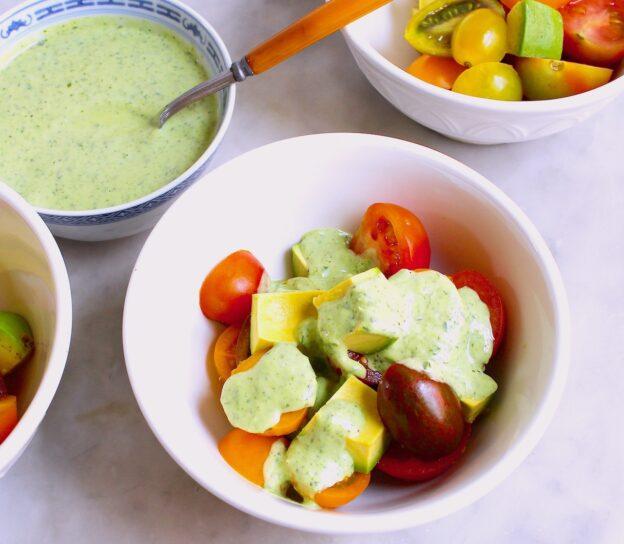 herbed buttermilk dressing on vegetables