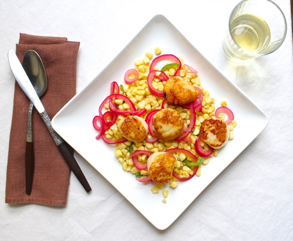 scallop and corn salad with pickled red onion