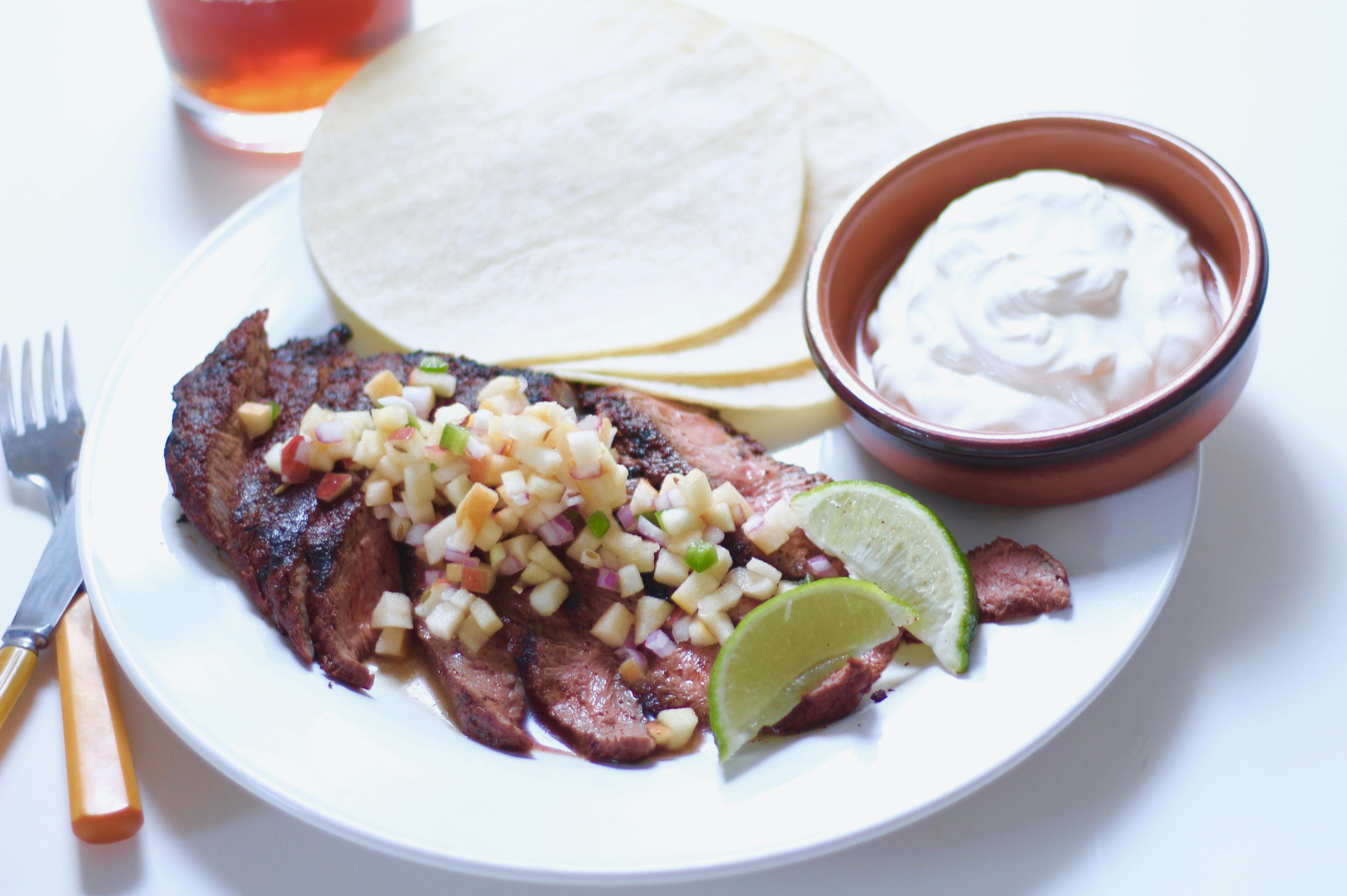 steak with apple jalapeño salsa and tortillas