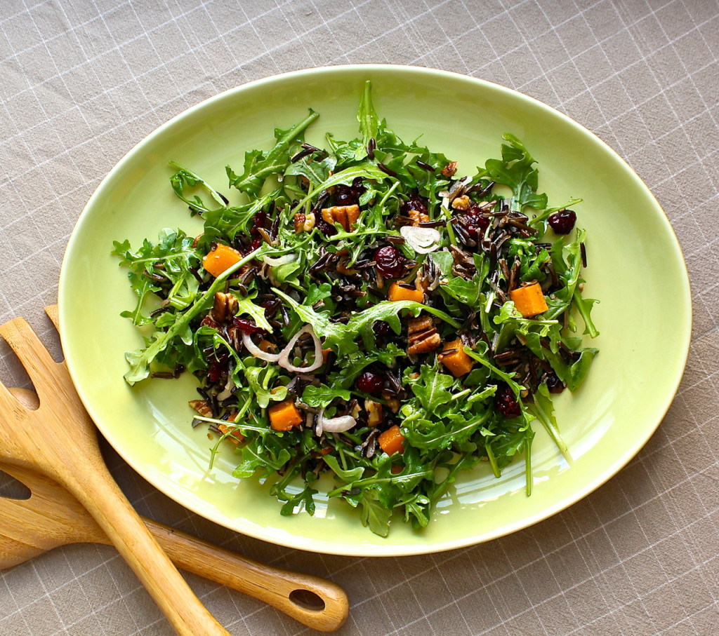wild rice salad with butternut squash and arugula