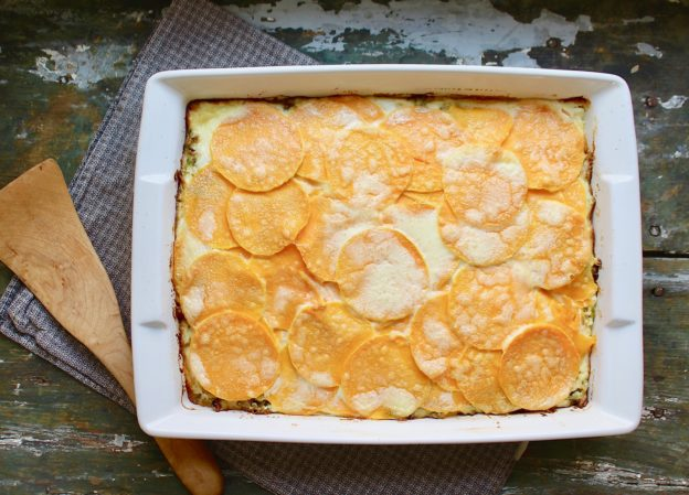baked dish of butternut savoy cabbage lasagna
