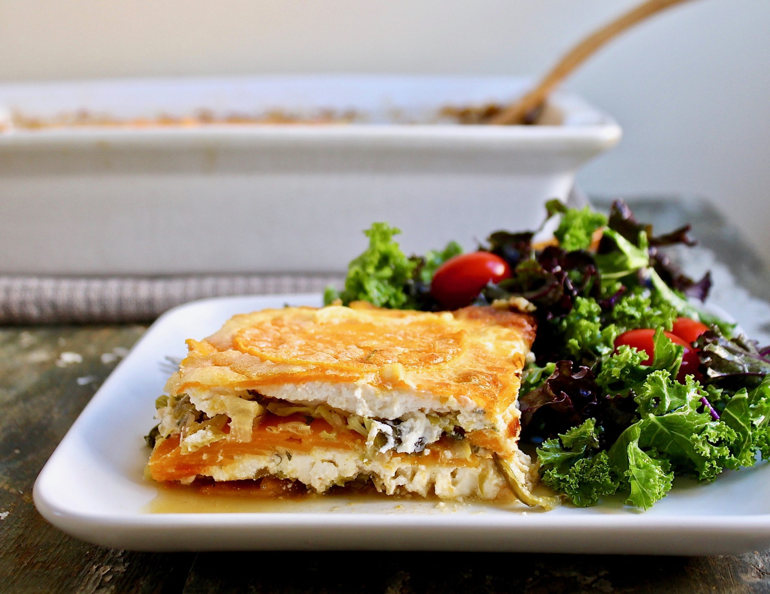 slice of butternut savoy cabbage lasagna