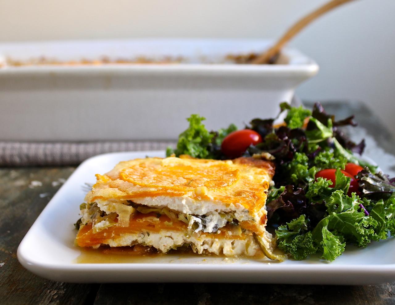 butternut squash and savoy cabbage lasagna