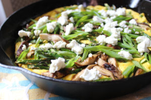 spring vegetable spoon bread tart