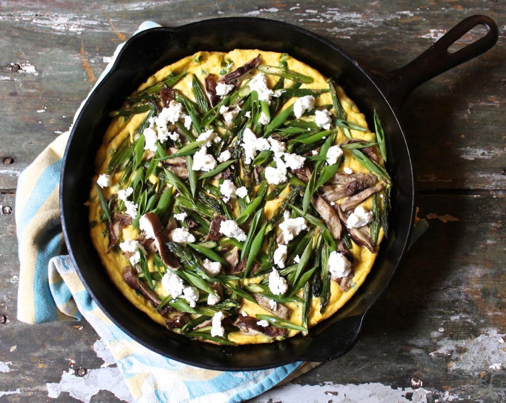 spring vegetable spoon bread tart
