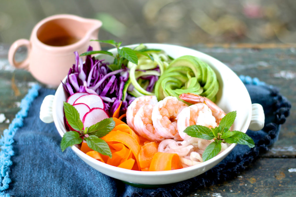 shrimp, avocado and vegetable salad
