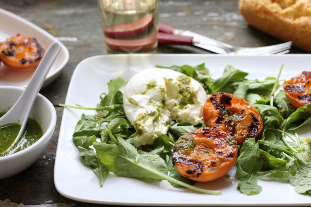 grilled apricot burrata salad