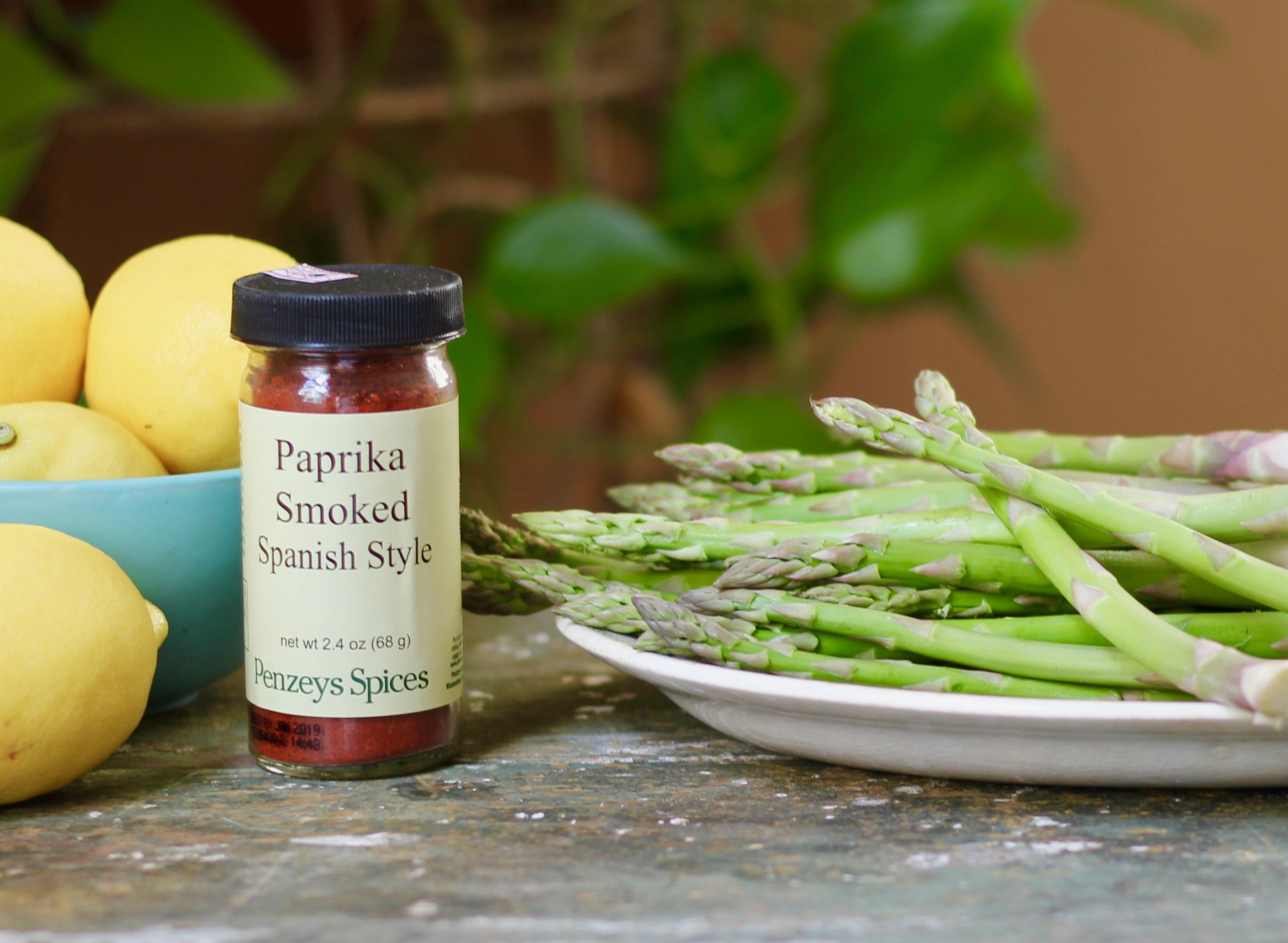 ingredients for asparagus with smoky yogurt