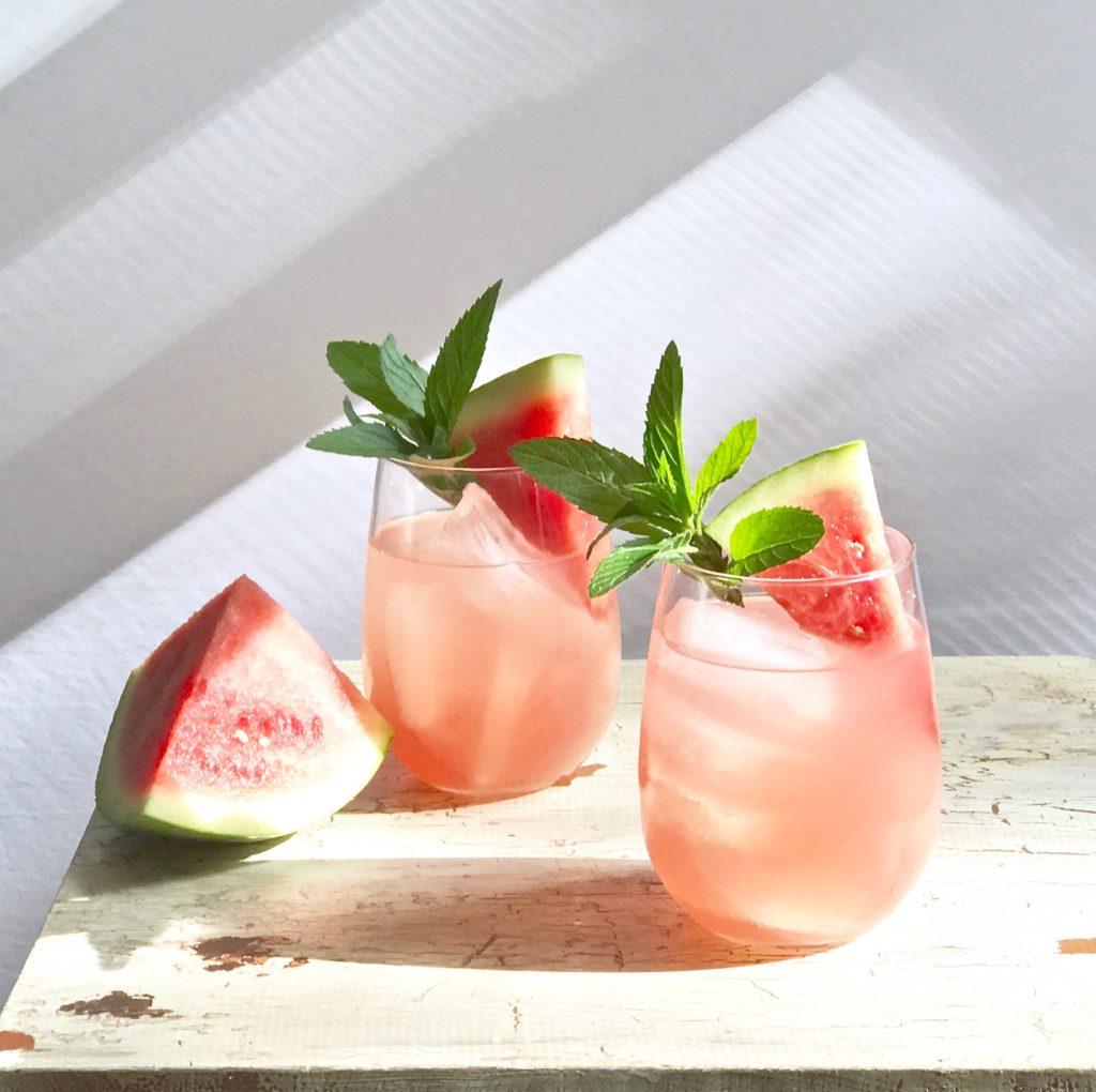 moonshine melon mint cocktail