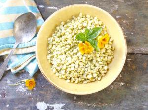 basil pesto corn