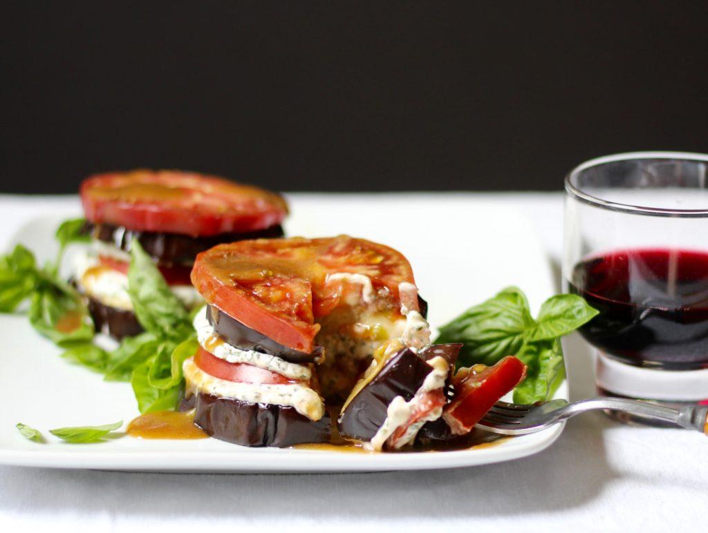tomato eggplant stacks