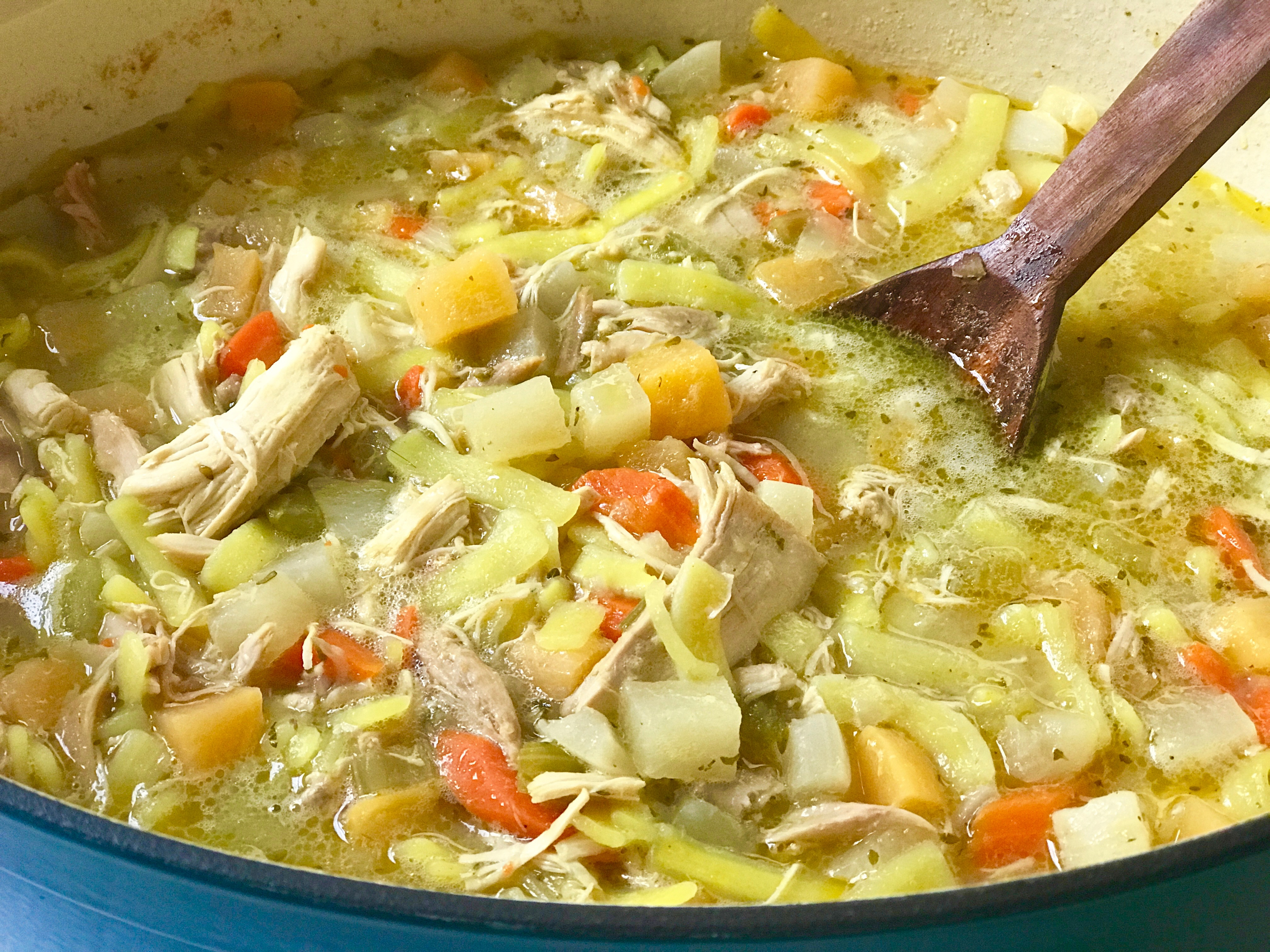 chicken noodle root vegetable soup