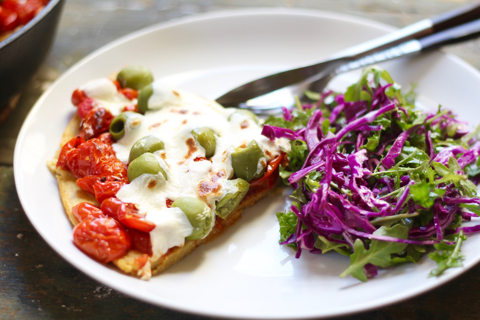 socca pizza with roasted tomatoes